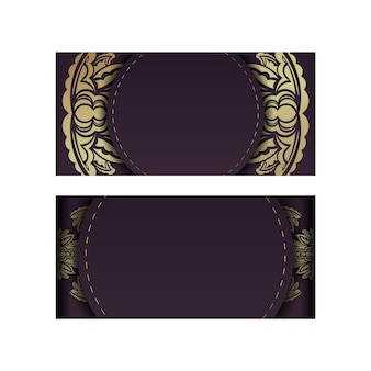 Burgundy postcard with vintage gold ornaments for your design.