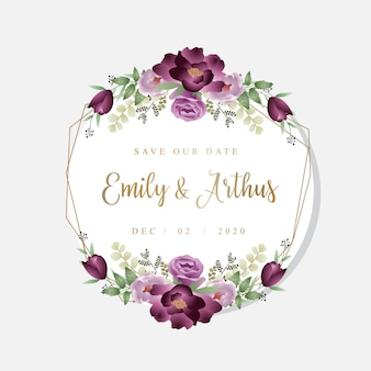Burgundy wedding floral frame save our date template