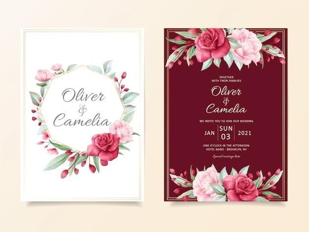 Burgundy wedding invitation card template set of elegant flowers decoration