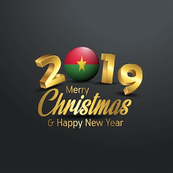 Burkina faso flag 2019 merry christmas typography
