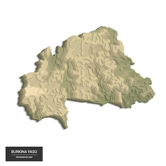 Burkina faso map -  digital high-altitude topographic map.  illustration. colored relief, rugged terrain. cartography and topology.