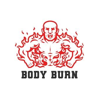 Burn fat body man burning vector illustration