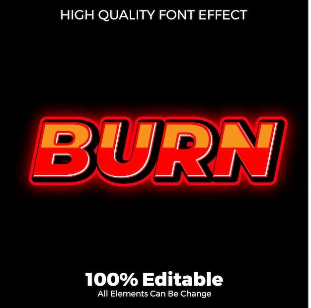 글로시 빨간색 텍스트 스타일 편집 가능한 글꼴 효과 굽기