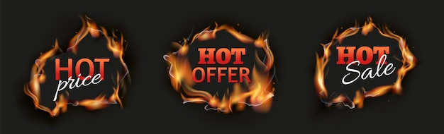 Burn holes. hot sale black banners, season discount flame template. realistic advertisement of special prices fire vector illustration. fire hot hole, burn promotion template, retail burning badge