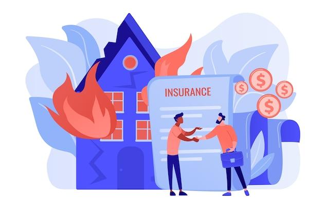 Горящий дом, пылающее здание. страховой агент и плоские персонажи клиента. страхование от пожара, экономический ущерб от пожара, защита концепции вашей собственности. розовый коралловый синий вектор изолированных иллюстрация