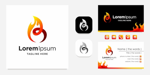 Burn logo with business card design