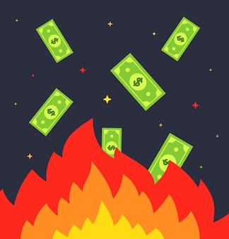 火でお金を燃やす。紙幣が火の中に飛び込みます。フラットベクトルイラスト