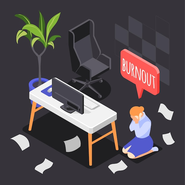 Burn-out syndrome isometric composition with overwork and overtime symbols