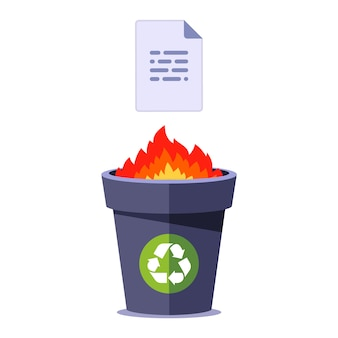 Burn paper in the bin. destroy document on fire. flat illustration isolated.