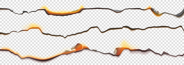 Burn paper borders, burnt page with smoldering fire on charred uneven edges Free Vector