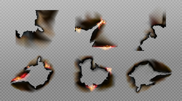 Burn paper corners, holes and borders, burnt page with smoldering fire on charred uneven edges Free Vector