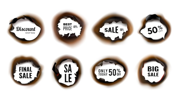 Burned hole. realistic sale and discount banners with charred edges vector illustration. discount advertising, sale and good deal promo