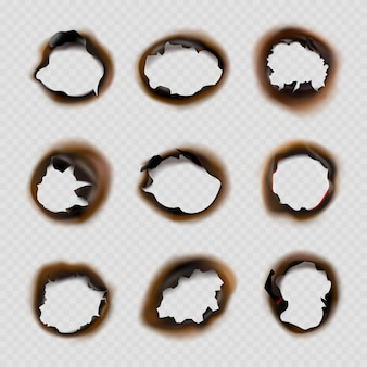 Burned holes paper. grunge designs of fire damaged circles shapes vector pictures