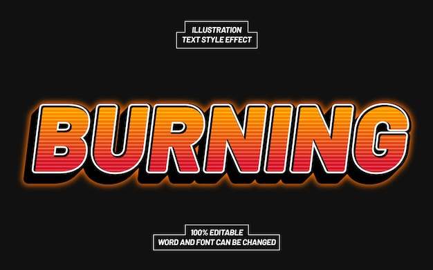 Burning 3d bold text style effect