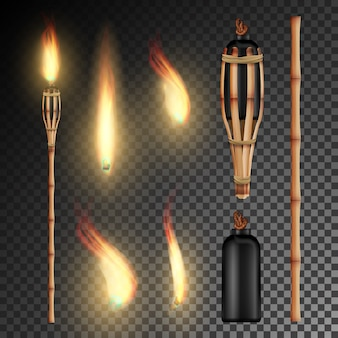 Burning beach bamboo torch on transparent background