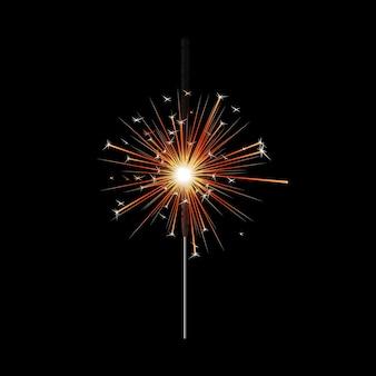 燃えるベンガル線香花火とキラキラ光る火と金の星、クリスマス、誕生日、新年のオレンジ色のフレアで輝くリアルなお祝いの棒、黒で隔離