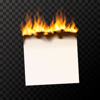 Burning blank piece of paper bright with fire flames