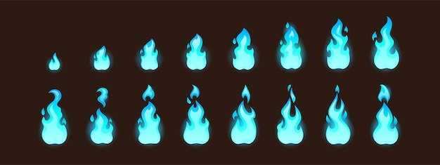 시퀀스가 있는 d 애니메이션 또는 비디오 게임 벡터 만화 애니메이션 스프라이트 시트에 대한 불타는 파란 불