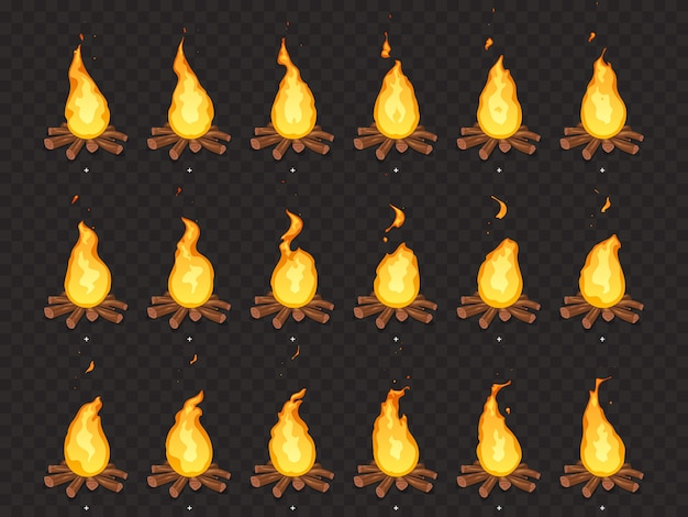 Burning bonfire animation. hot fire, outdoor campfire and bonfires cartoon isolated sprites frames