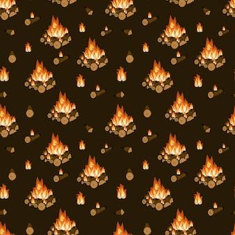 Burning bonfire, firewood and flames