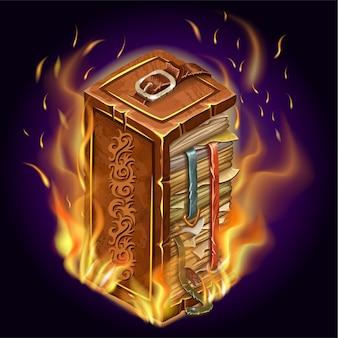 주문과 마법의 불타는 책.