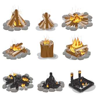 Burning campfire logs collection isolated