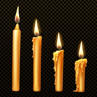 Burning candle, dripping or flowing wax, realistic