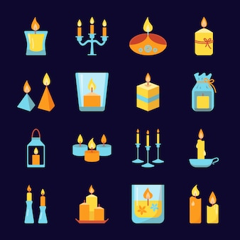 Burning candle icons set in flat style