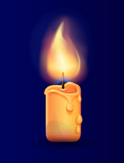 Burning candle in realistic icon