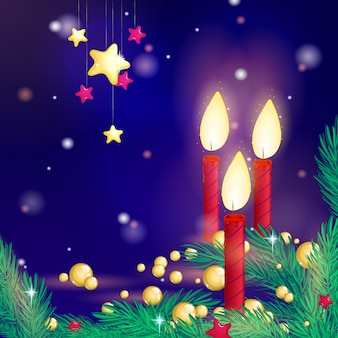 Burning candles, fir branches, golden beads and stars on dark blue background