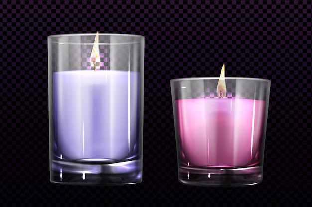 Burning candles in glass jars set isolated clipart
