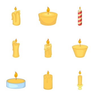 Burning candles set, cartoon style