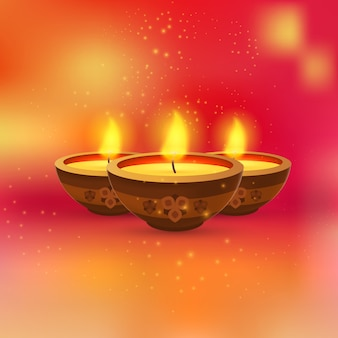 Burning candles in small bowls