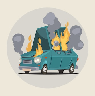 Burning car transportation accident  illustration