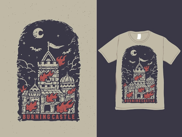 Burning castle vintage tattoo style tshirt design