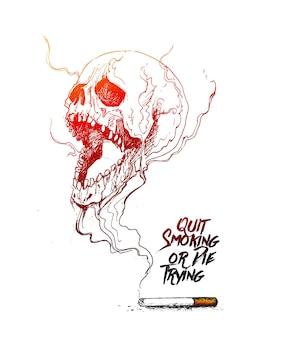 금연을 상징하는 치명적인 연기가 있는 해골 디자인으로 담배를 태우거나 시도하다