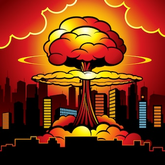 Burning city with nuclear explosion of atomic bomb.