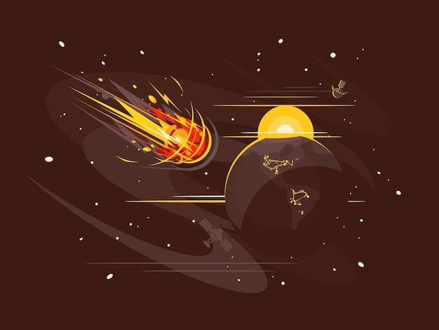 우주에서 불타는 혜성은 빠른 속도로 날아갑니다. 벡터 일러스트 레이 션