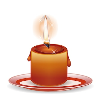Burning down candle on a plate.  illustration isolated on white background