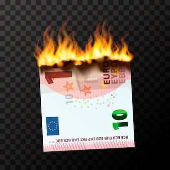 Burning dummy of half ten euro banknote torn into two pieces with fire flames