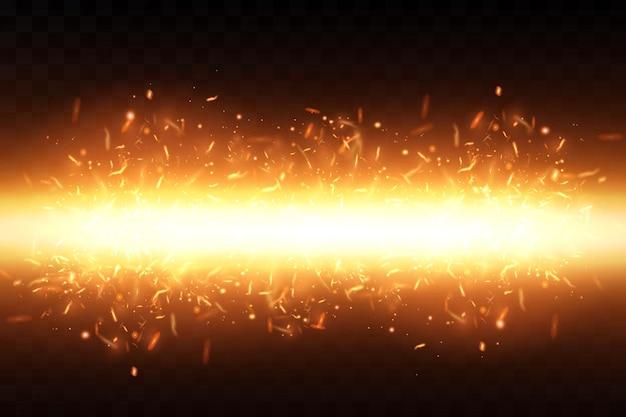 燃えるような火花。火の火花。