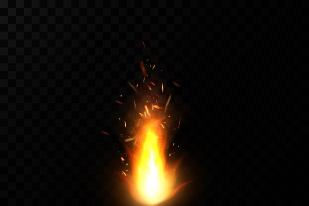 Burning fiery sparks on transparent background