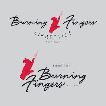 Burning finger retro logo set