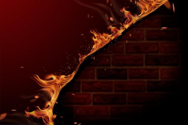 3dイラストで燃える火と赤レンガの壁の背景