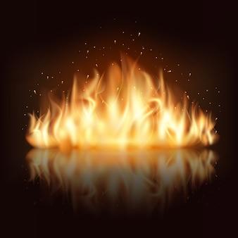 Горящее пламя огня. горит и жарко, тепло и тепло, энергия легковоспламеняющаяся, пылающая векторная иллюстрация