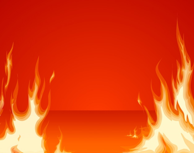 Burning fire front layer on red room background