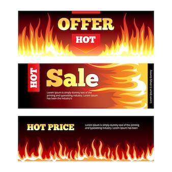 燃える火の熱い販売水平バナーベクトルセット。消費主義と燃えるような燃焼の促進