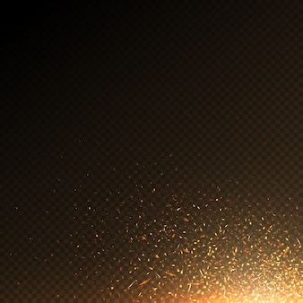 Burning fire particles, coal sparks abstract vector effect isolated. fire light particles, bright burning flaming illustration