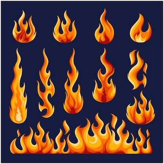 Burning fire template vector collection