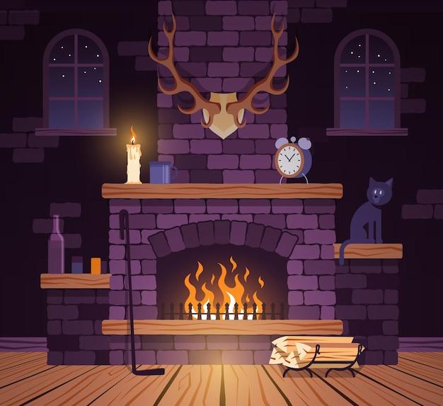 Горящий камин в гостиной с рогами и деревянным полом